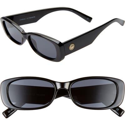 Le Specs Unreal 50Mm Rectangle Sunglasses - Shiny Black/ Smoke