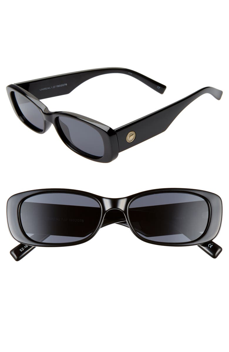 LE SPECS Unreal 50mm Rectangle Sunglasses, Main, color, SHINY BLACK/ SMOKE