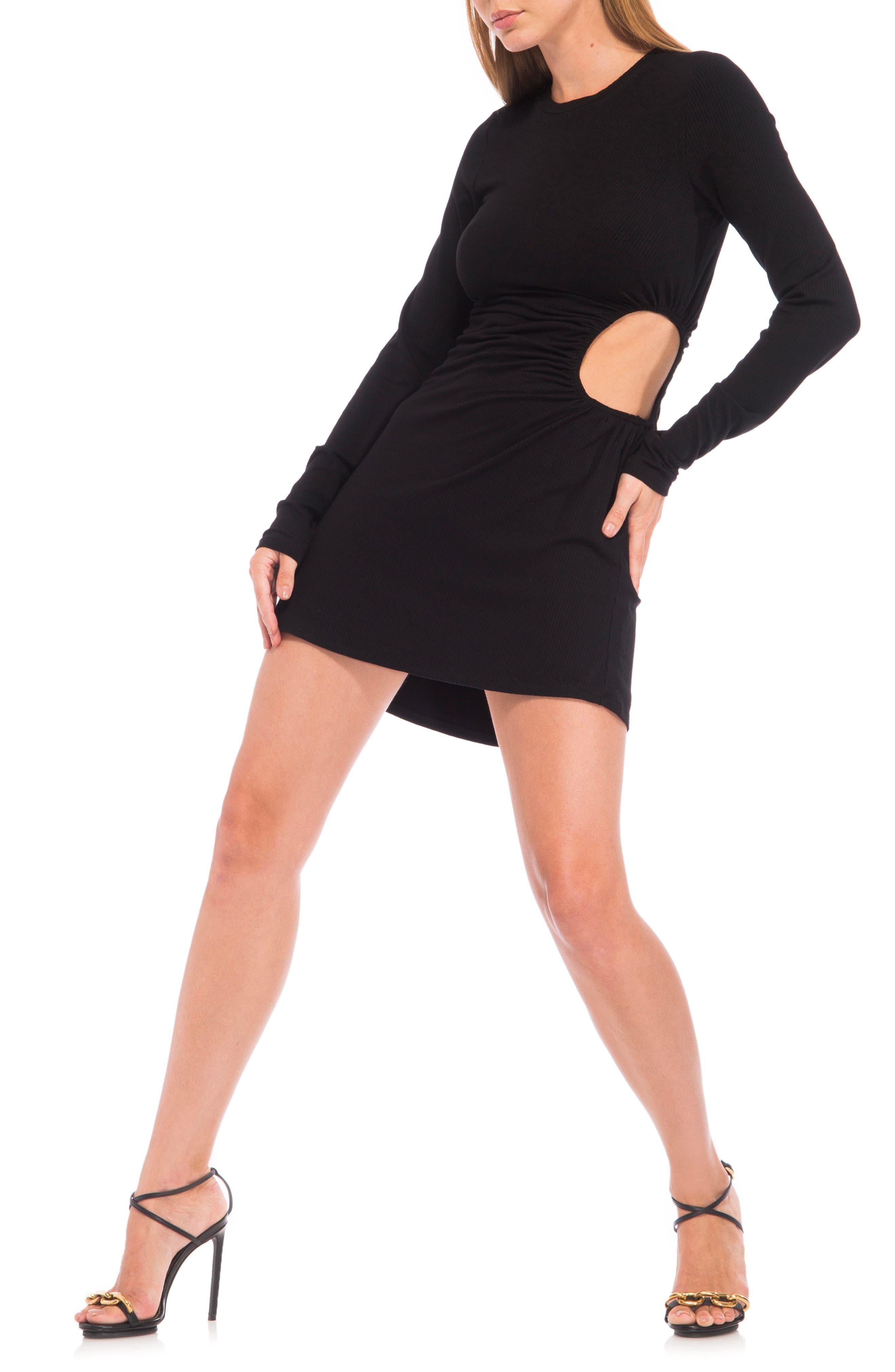 Marlowe Rib Cutout Detail Long Sleeve Dress