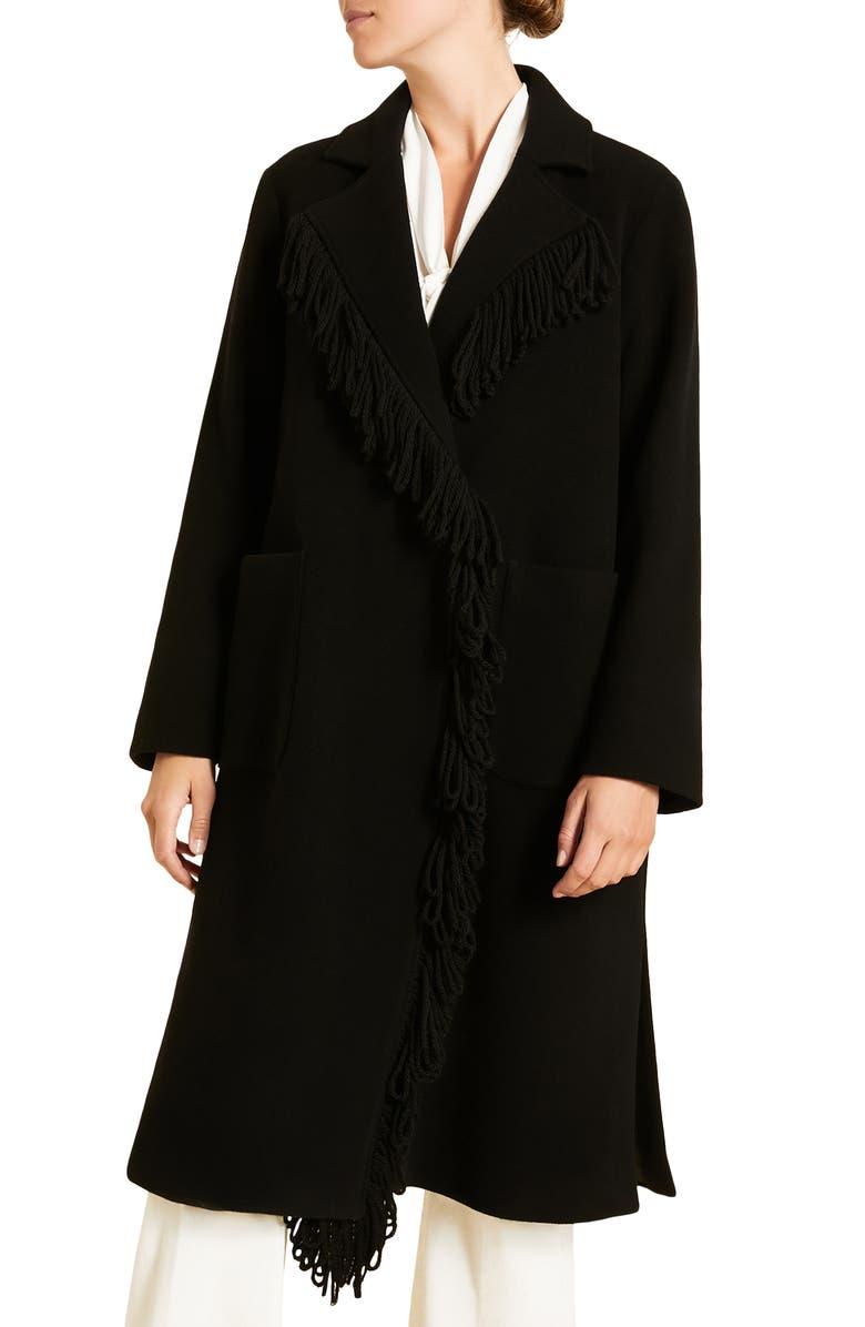 MARINA RINALDI Marina Ribaldi Tartana Wool Blend Double Breasted Coat, Main, color, BLACK