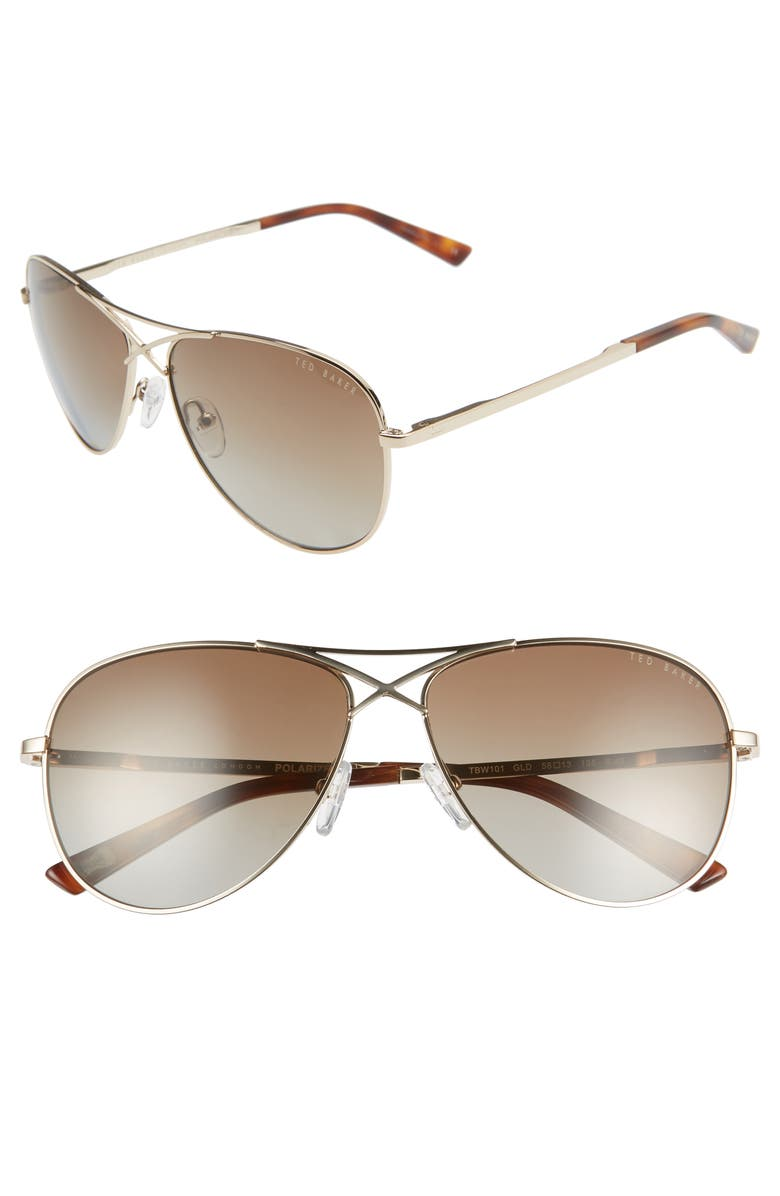 TED BAKER LONDON 58mm Gradient Aviator Sunglasses, Main, color, GOLD/ BROWN