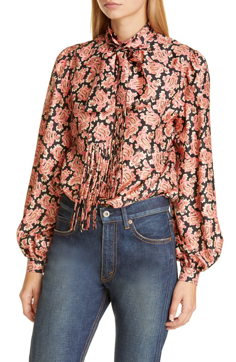 MARC JACOBS Paisley Print Silk Blouse with Removable Tie, Main, color, PINK