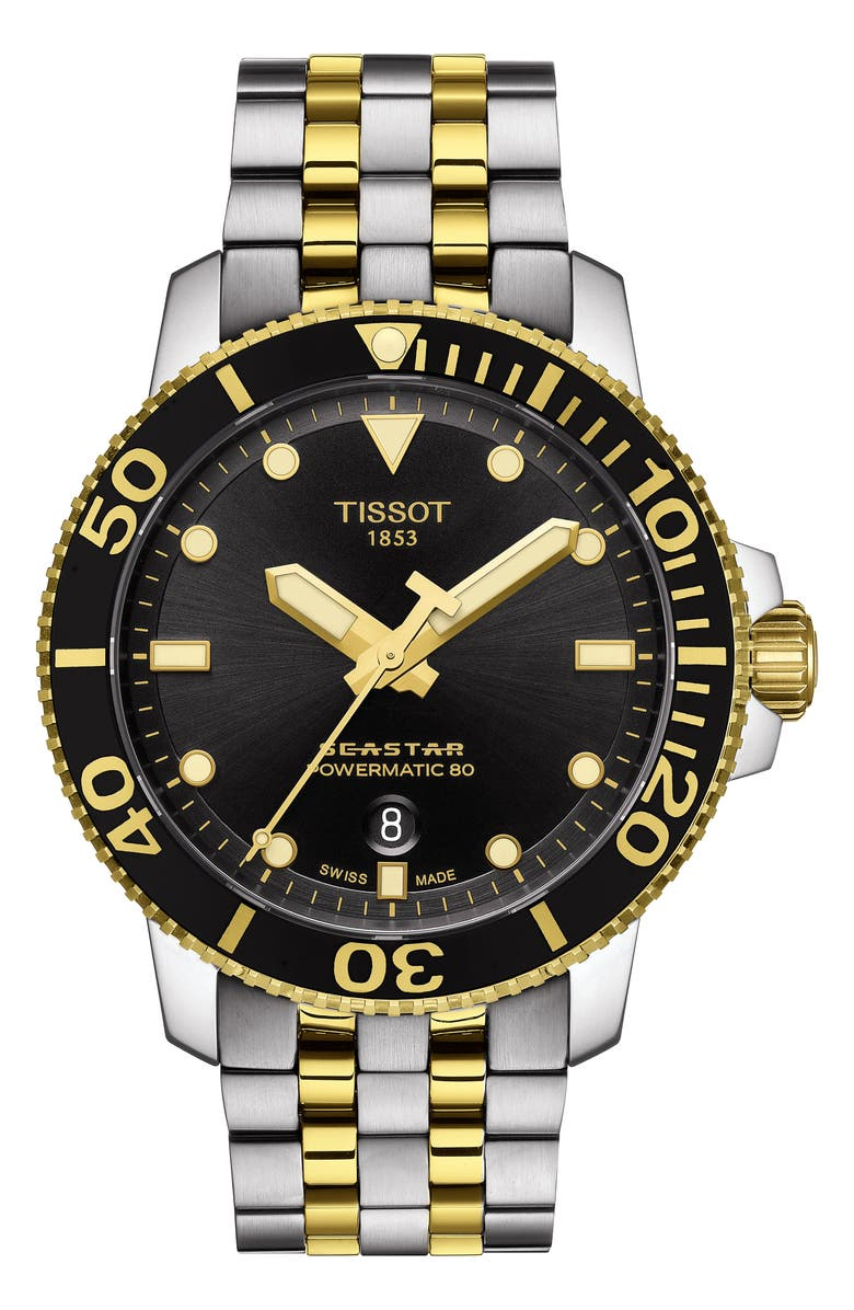 TISSOT Seastar 1000 Powermatic 80 Bracelet Watch, 43mm, Main, color, SILVER/ BLACK/ GOLD