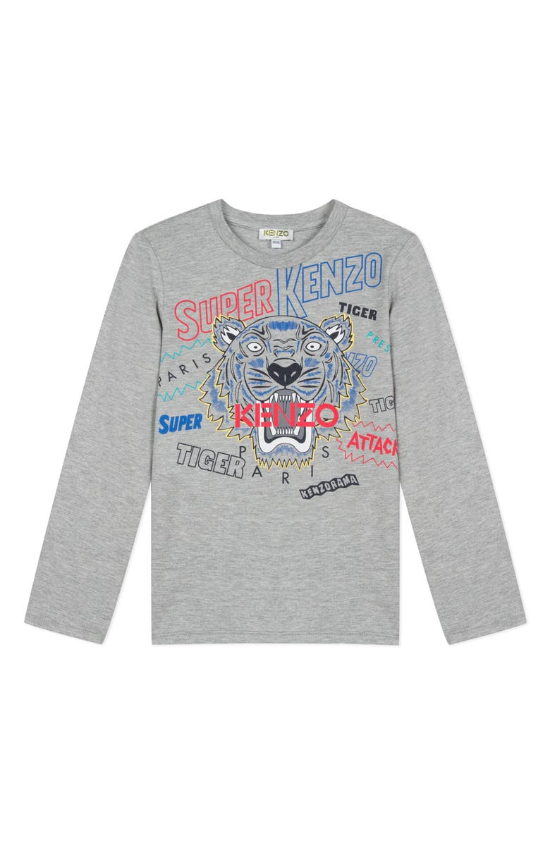 KENZO Tiger Graphic T-Shirt, Main, color, GREY