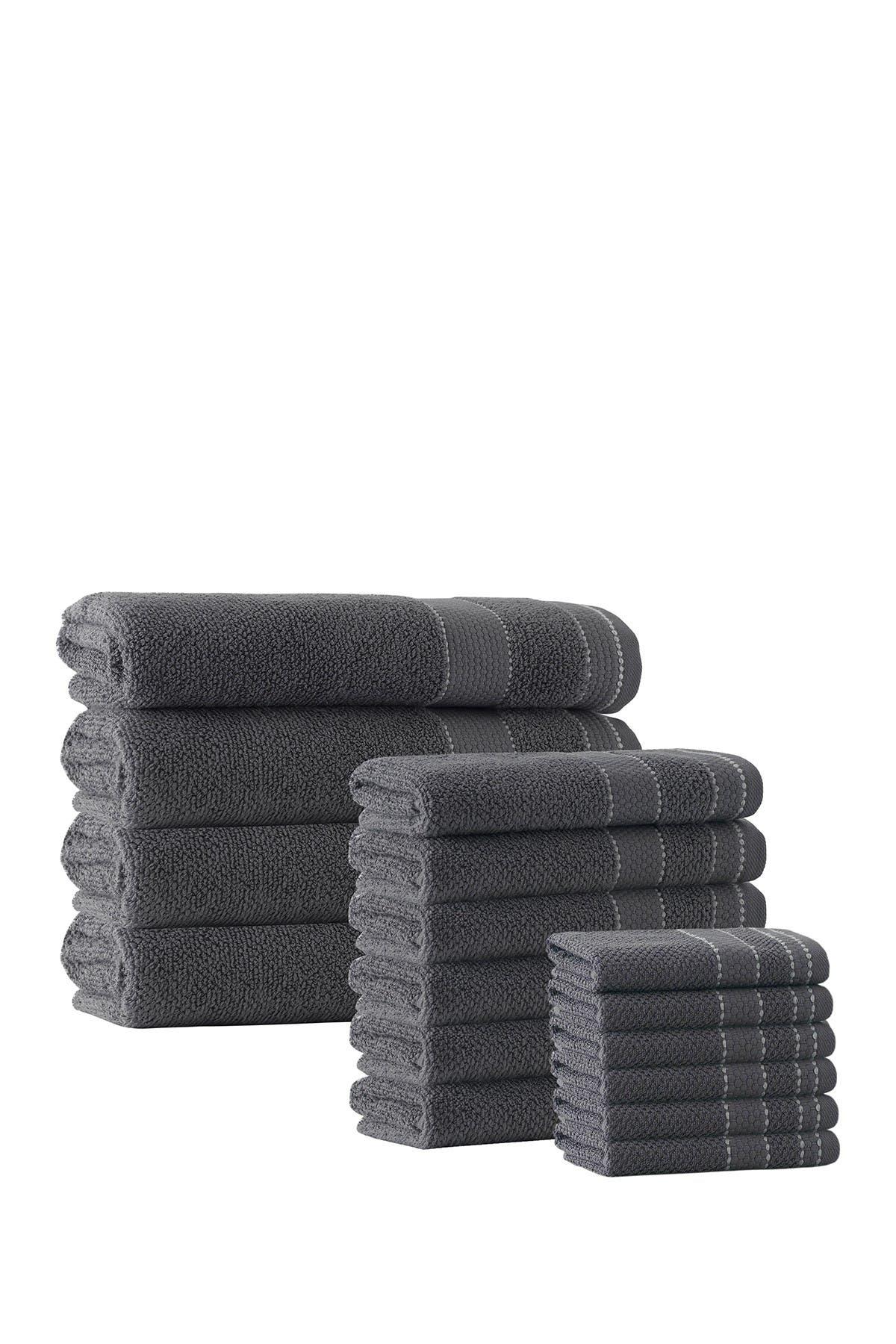 Image of ENCHANTE HOME Monroe Turkish Cotton 16-Piece Towel Set - Anthracite