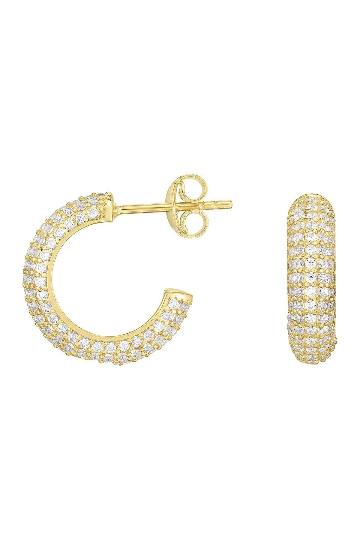 Sphera Milano 14K Yellow Gold Plated Sterling Silver Pave CZ 12mm Huggie Hoop Earrings at Nordstrom Rack