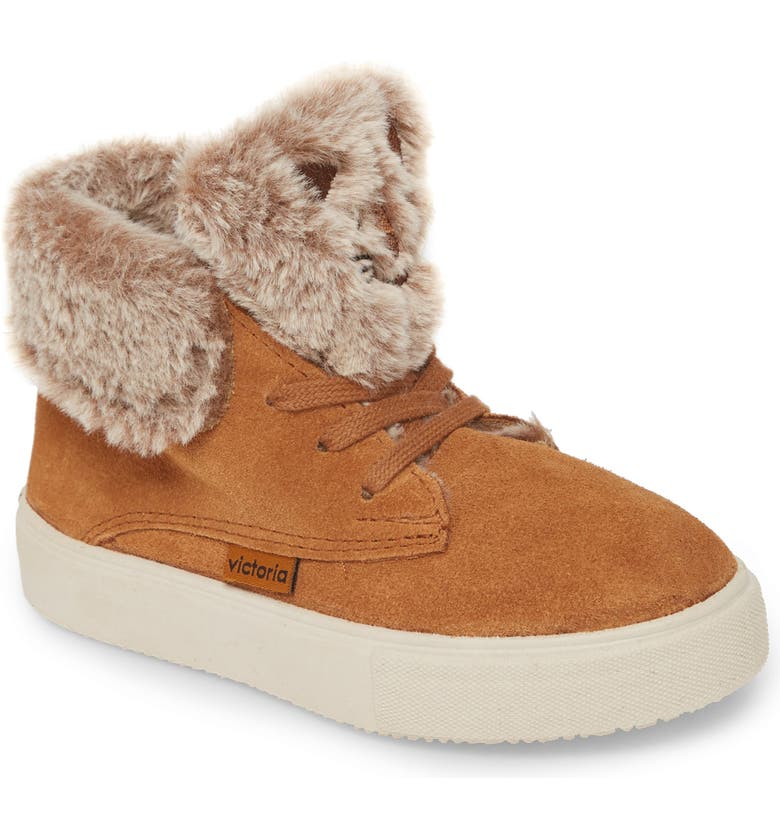 VICTORIA SHOES Serraje Animales Faux Fur Sneaker Boot, Main, color, CUERO