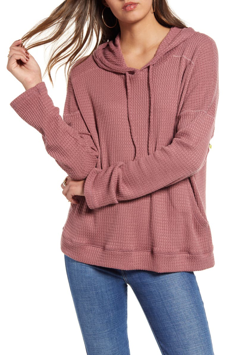 BILLABONG Days Like This Hooded Waffle Knit Top, Main, color, WASHED PLUM