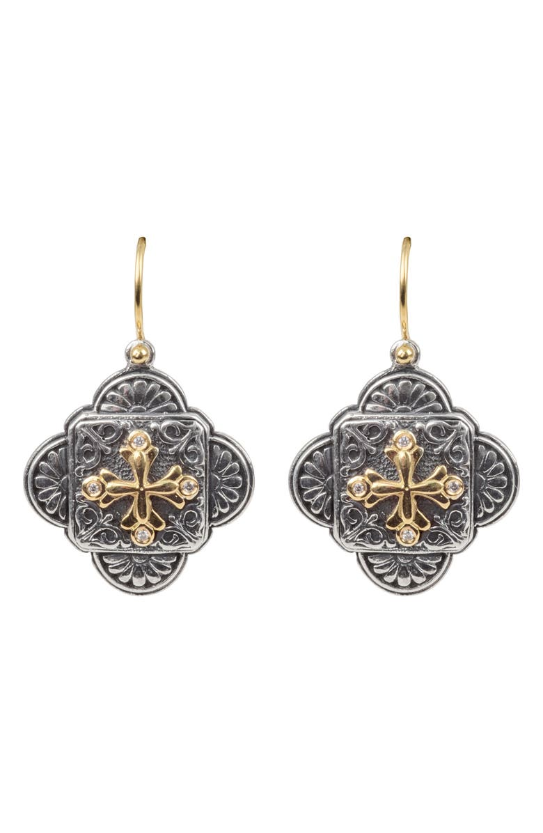 KONSTANTINO Diamond Clover Drop Earrings, Main, color, SILVER/ GOLD