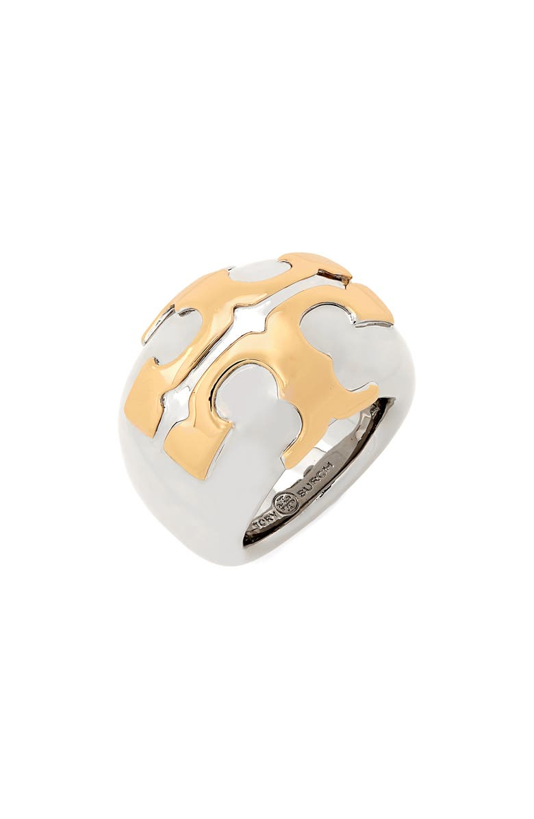 TORY BURCH Stacked-T Logo Ring, Main, color, TORY SILVER / TORY GOLD