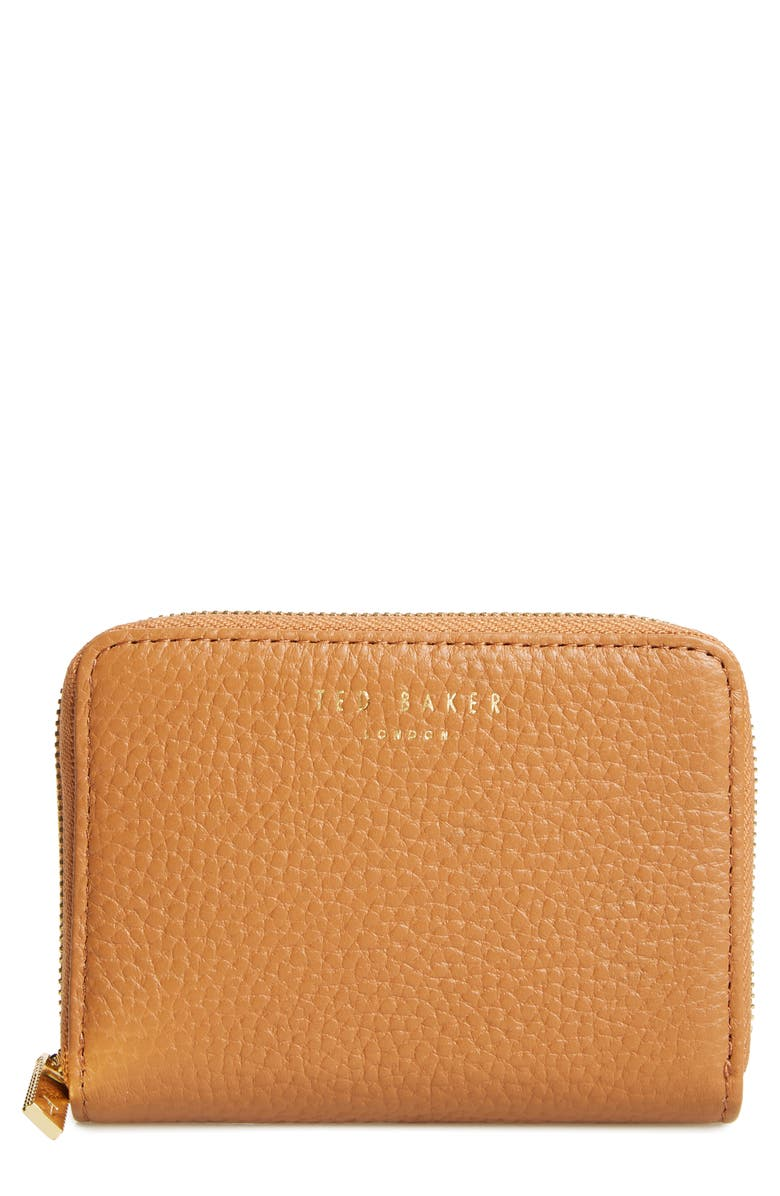 TED BAKER LONDON Mini Illda Zip-Around Leather Clutch, Main, color, TAN