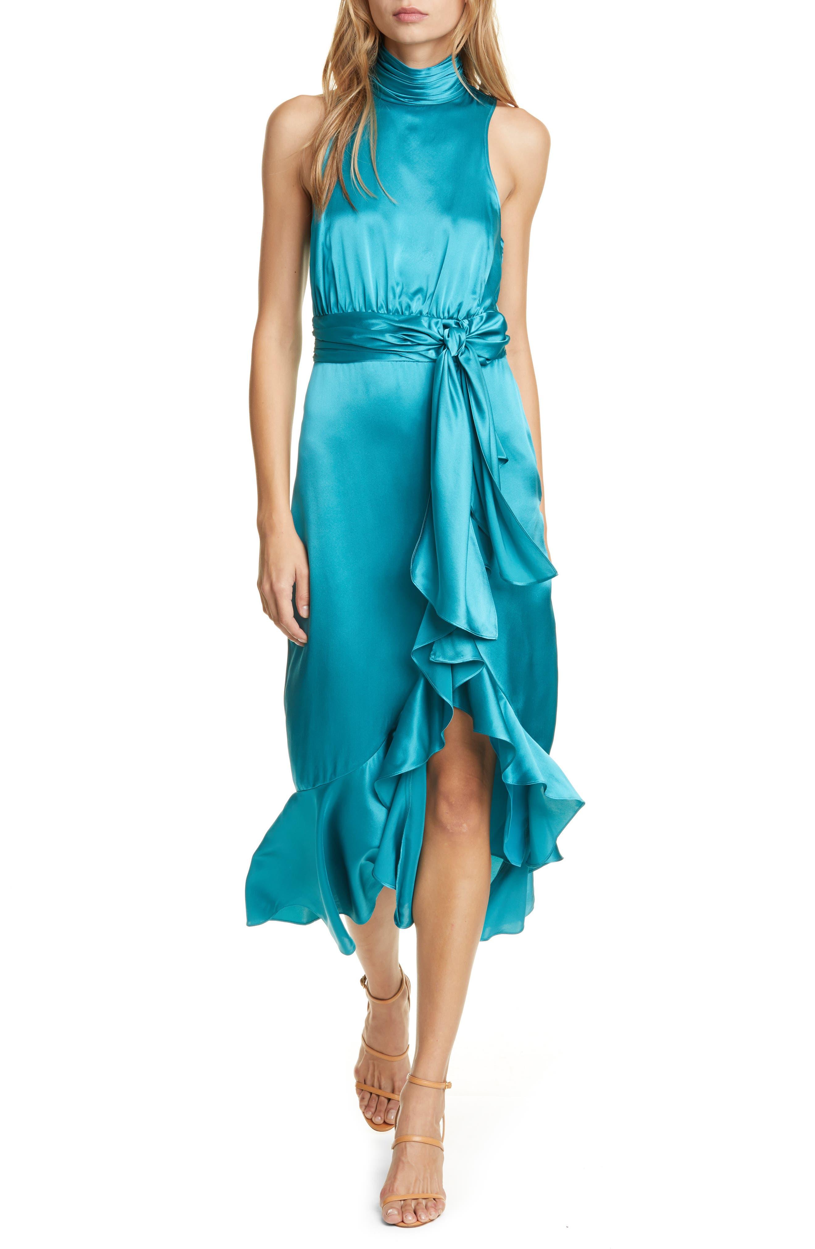 1960s – 70s Cocktail, Party, Prom, Evening Dresses Womens Cinq A Sept Silk Dress Size 0 - Blue $645.00 AT vintagedancer.com