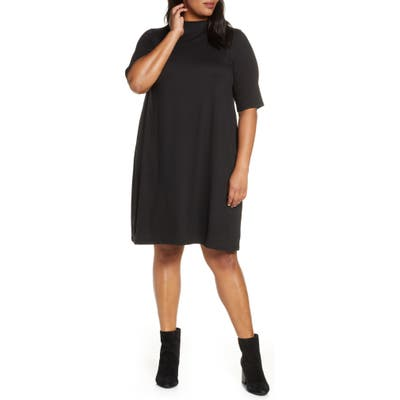 Plus Size Eileen Fisher Funnel Neck Elbow Sleeve Dress, Black