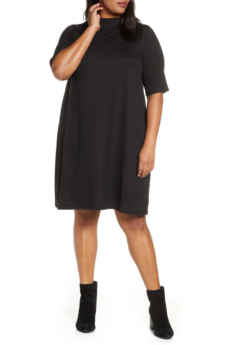 EILEEN FISHER Funnel Neck Elbow Sleeve Dress, Main, color, BLACK