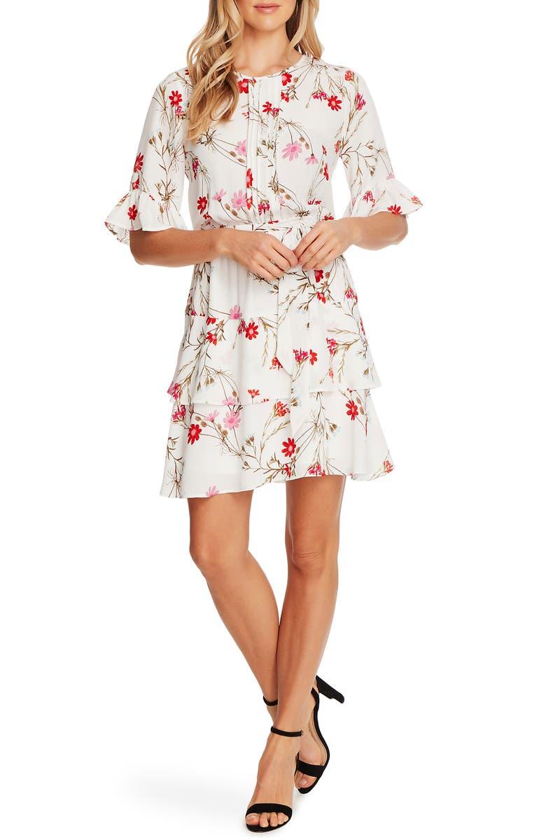 CECE Enchanted Wildflower Ruffle Fit & Flare Dress, Main, color, SOFT ECRU
