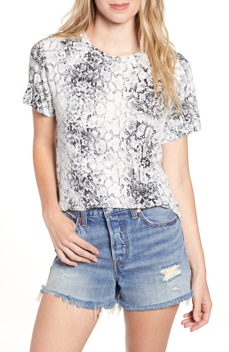 SOCIALITE Washed Print Tee, Main, color, IVORY/ BLACK/ GREY