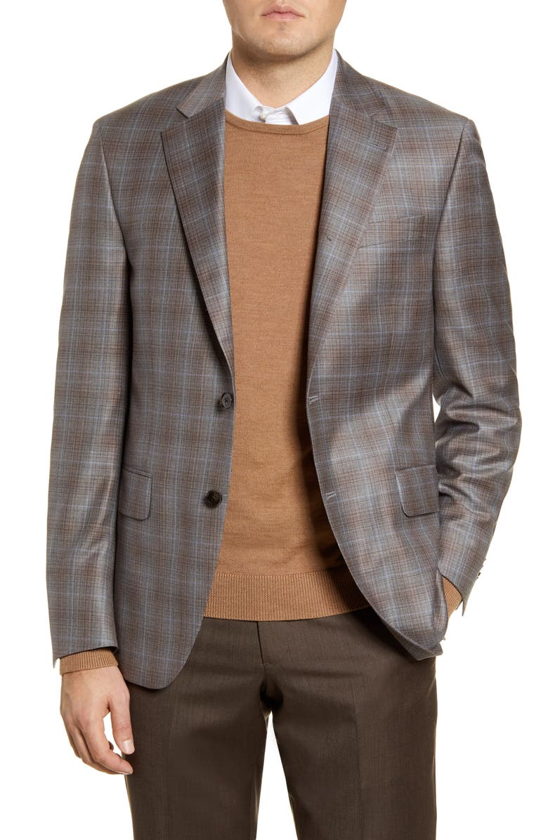 PETER MILLAR Flynn Classic Fit Plaid Wool Sport Coat, Main, color, BEIGE