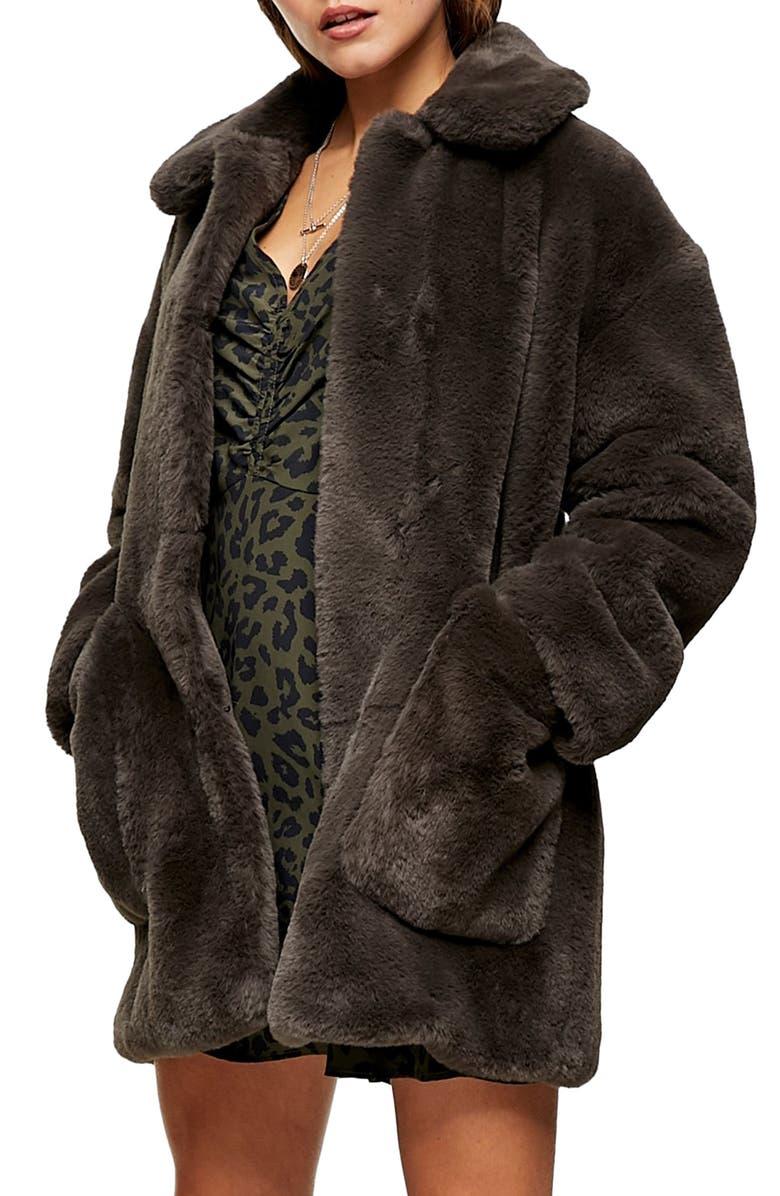 TOPSHOP Eddie Faux Fur Coat, Main, color, CHARCOAL