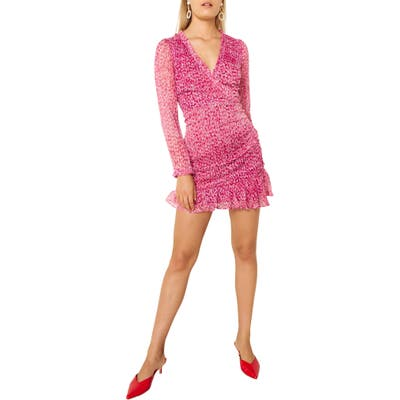 The East Order Penny Long Sleeve Minidress, Pink