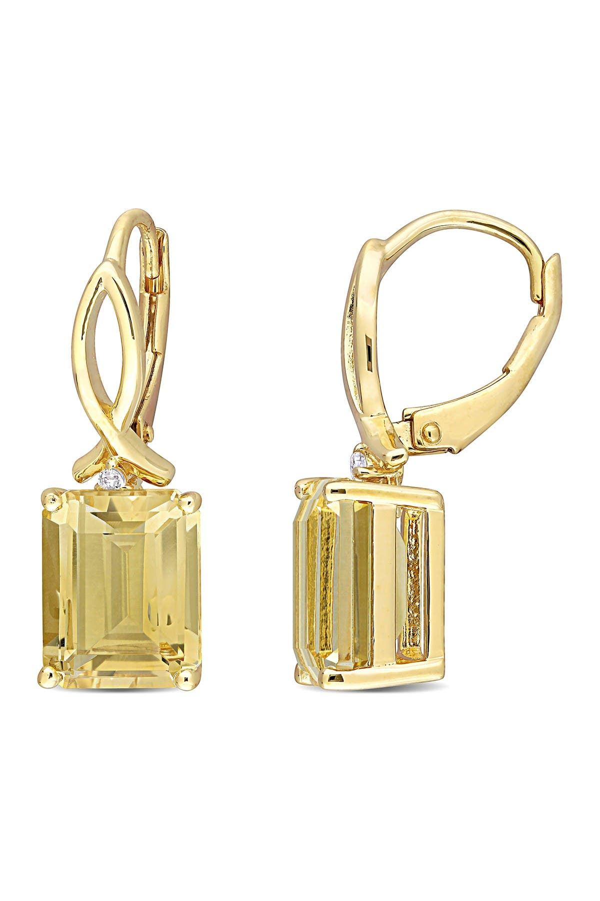 Image of Delmar Yellow Plated Sterling Silver Baguette Cut Citrine Drop Earrings