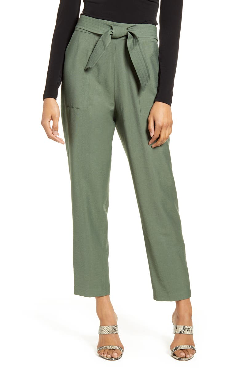 LEITH Tie Waist Utility Pants, Main, color, GREEN THYME