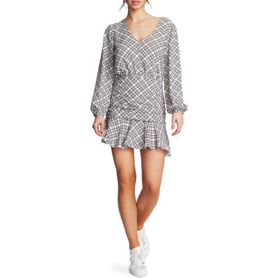 1.state Ruched Plaid Crepe Minidress, Blue