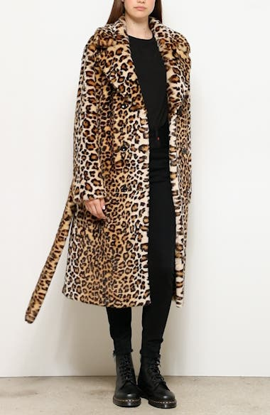 Faustine Leopard Print Faux Fur Coat, video thumbnail
