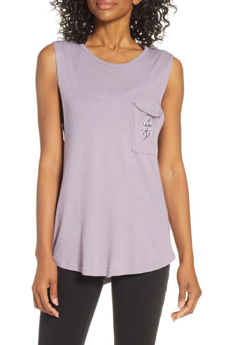 GOOD HYOUMAN Riley Yes Girl Yes Pocket Tank, Main, color, 500