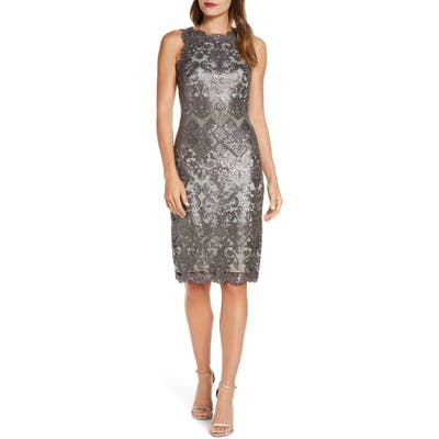 Tadashi Shoji Sequin Lace Cocktail Dress, Grey