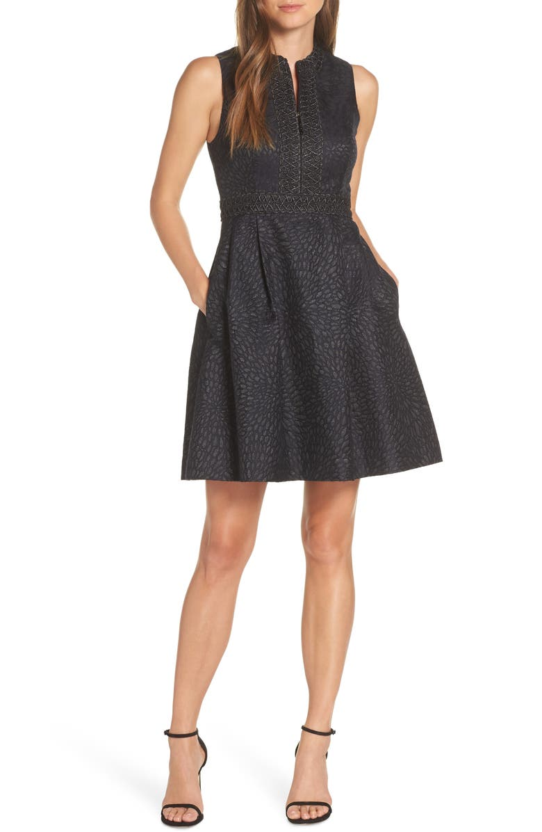 LILLY PULITZER<SUP>®</SUP> Franci Jacquard Dress, Main, color, ONYX LAGOON JACQUARD
