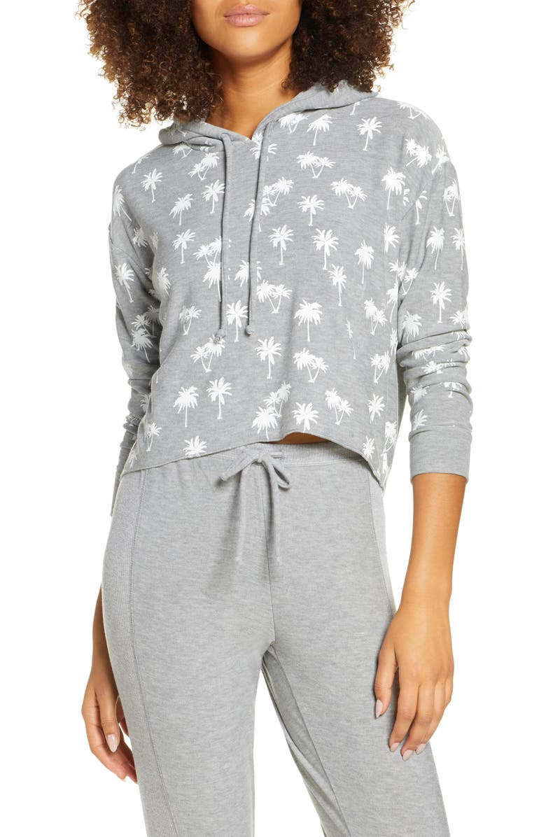 CHASER Palm Trees Crop Hoodie, Main, color, H GREY