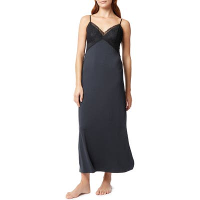 The White Company Lace Contrast Nightgown, Blue