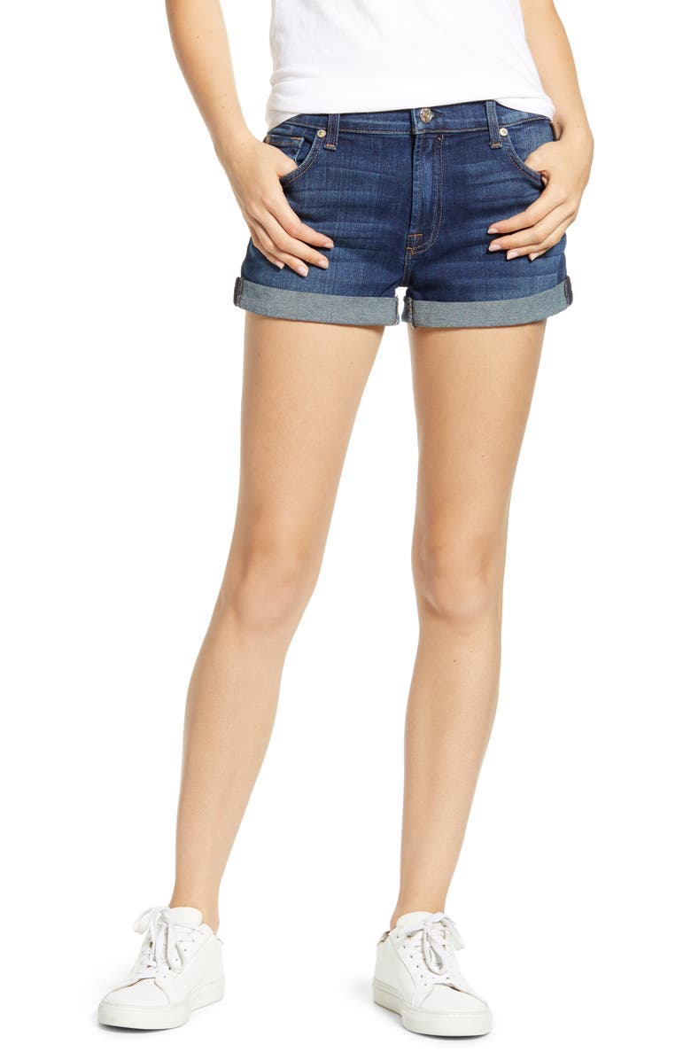 7 FOR ALL MANKIND<SUP>®</SUP> b(air) Cuffed Denim Shorts, Main, color, MORENO