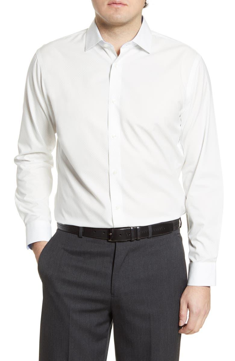 NORDSTROM MEN'S SHOP Trim Fit Non-Iron Dot Dress Shirt, Main, color, 100