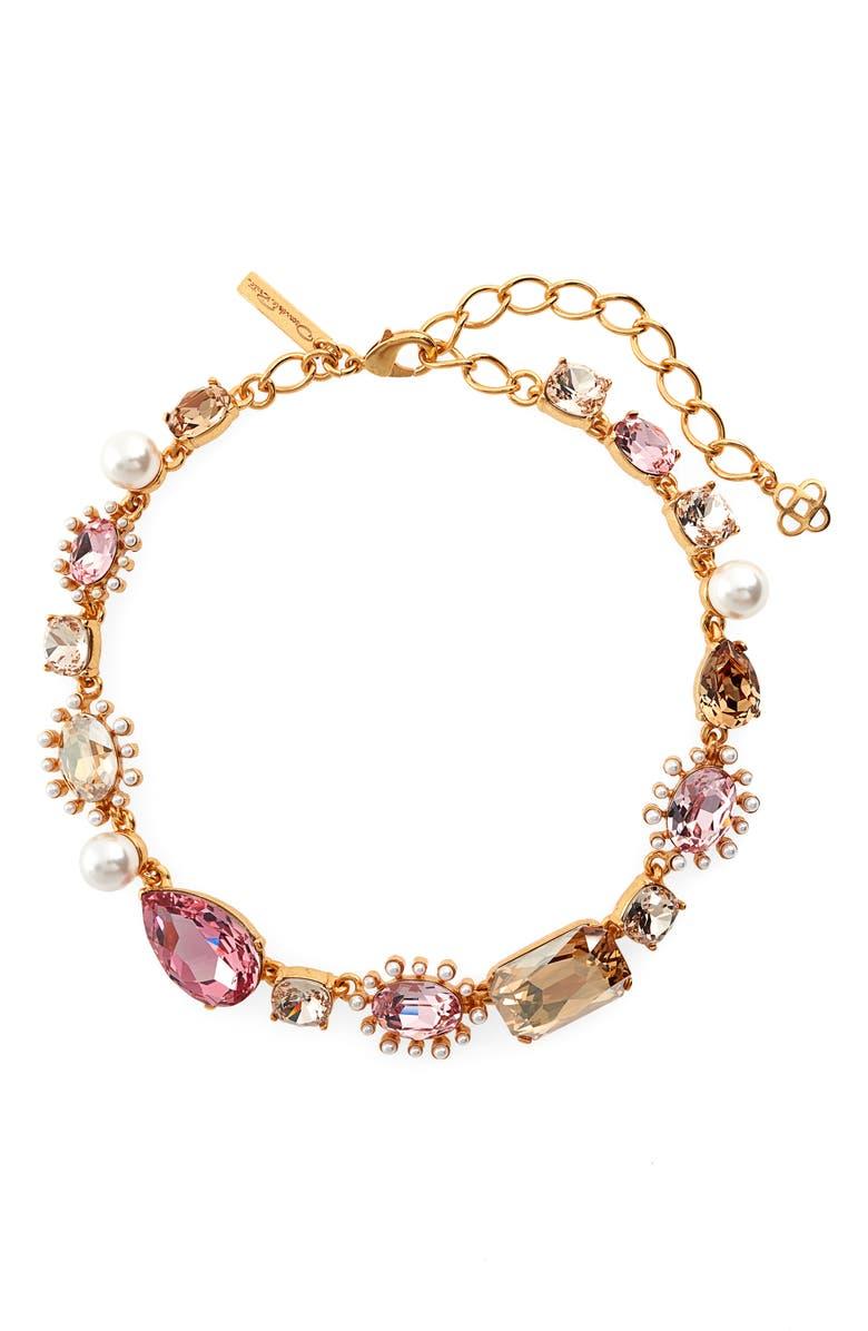 OSCAR DE LA RENTA Bold Mixed Jewel Necklace, Main, color, GOLD