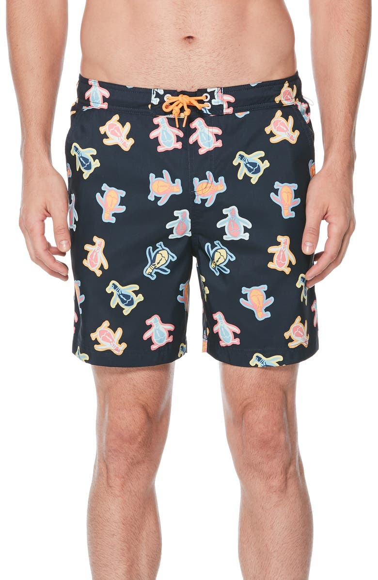 ORIGINAL PENGUIN Festival Pete Volley Swim Trunks, Main, color, 413