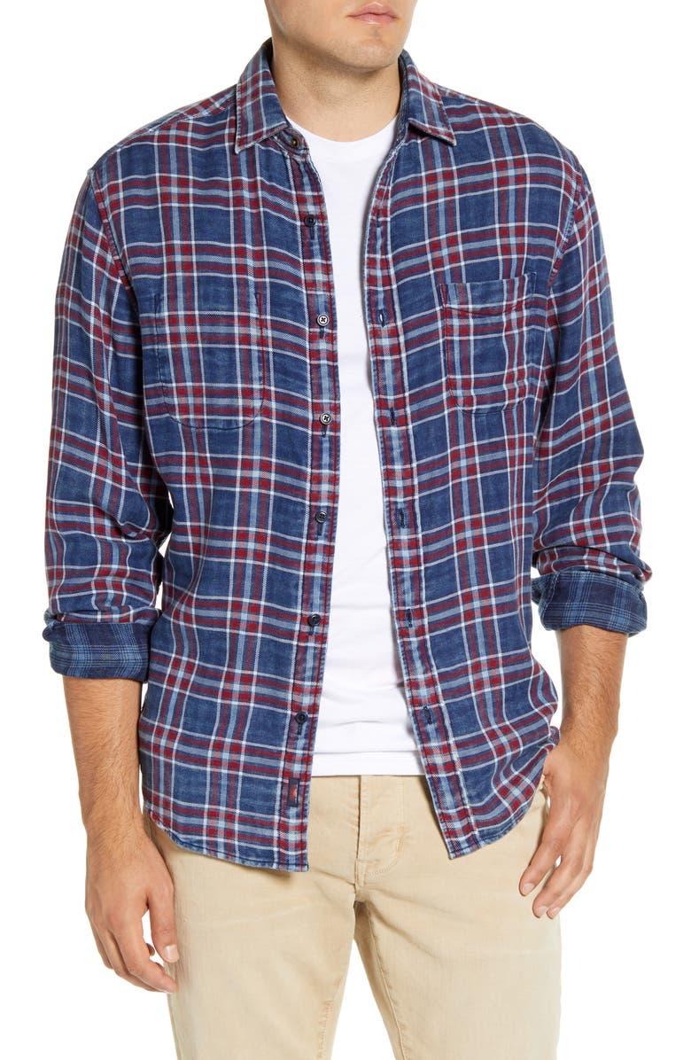 FAHERTY Regular Fit Reversible Organic Cotton Shirt, Main, color, WASHED INDIGO