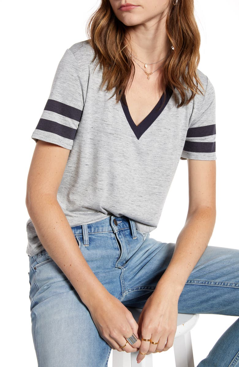 TREASURE & BOND Varsity Stripe V-Neck Tee, Main, color, GREY HEATHER- NAVY W COMBO