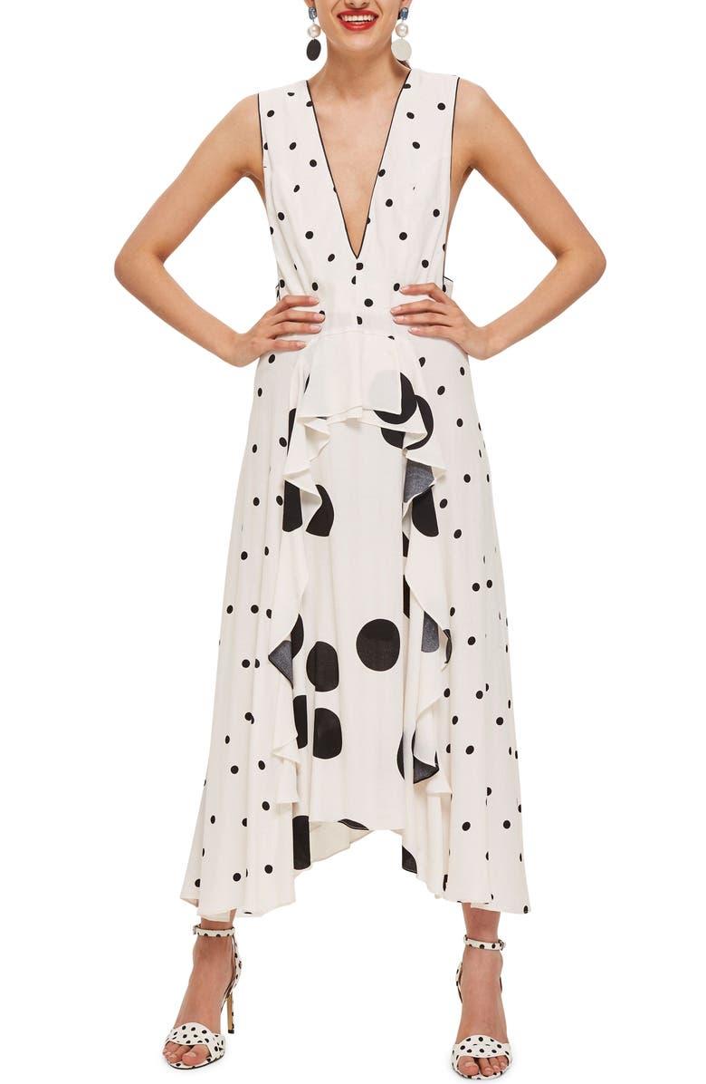 TOPSHOP Mix Spotted Pinafore Midi Dress, Main, color, 900