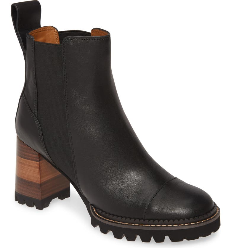 SEE BY CHLOÉ Mallory Pull-On Bootie, Main, color, BLACK