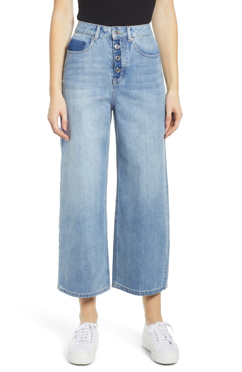 VERO MODA Kathy High Waist Wide Leg Crop Nonstretch Jeans, Main, color, 400