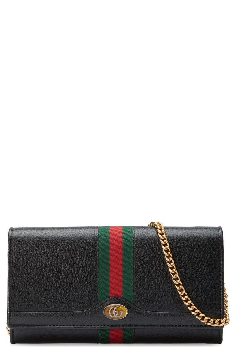 GUCCI Ophidia Leather Continental Wallet on a Chain, Main, color, NERO/ VERT RED VERT