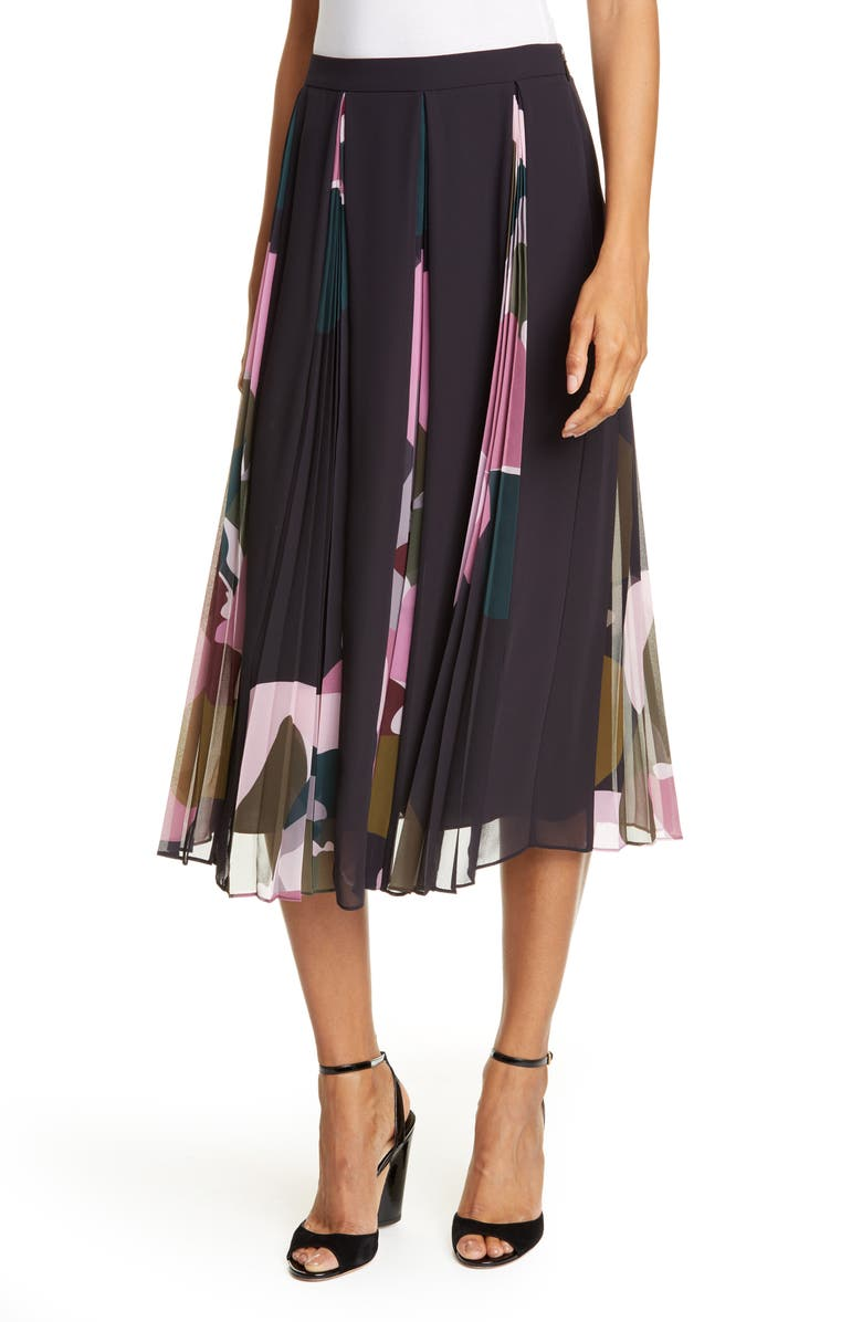 TED BAKER LONDON Strawberry Swirl Pleated Midi Skirt, Main, color, BLACK