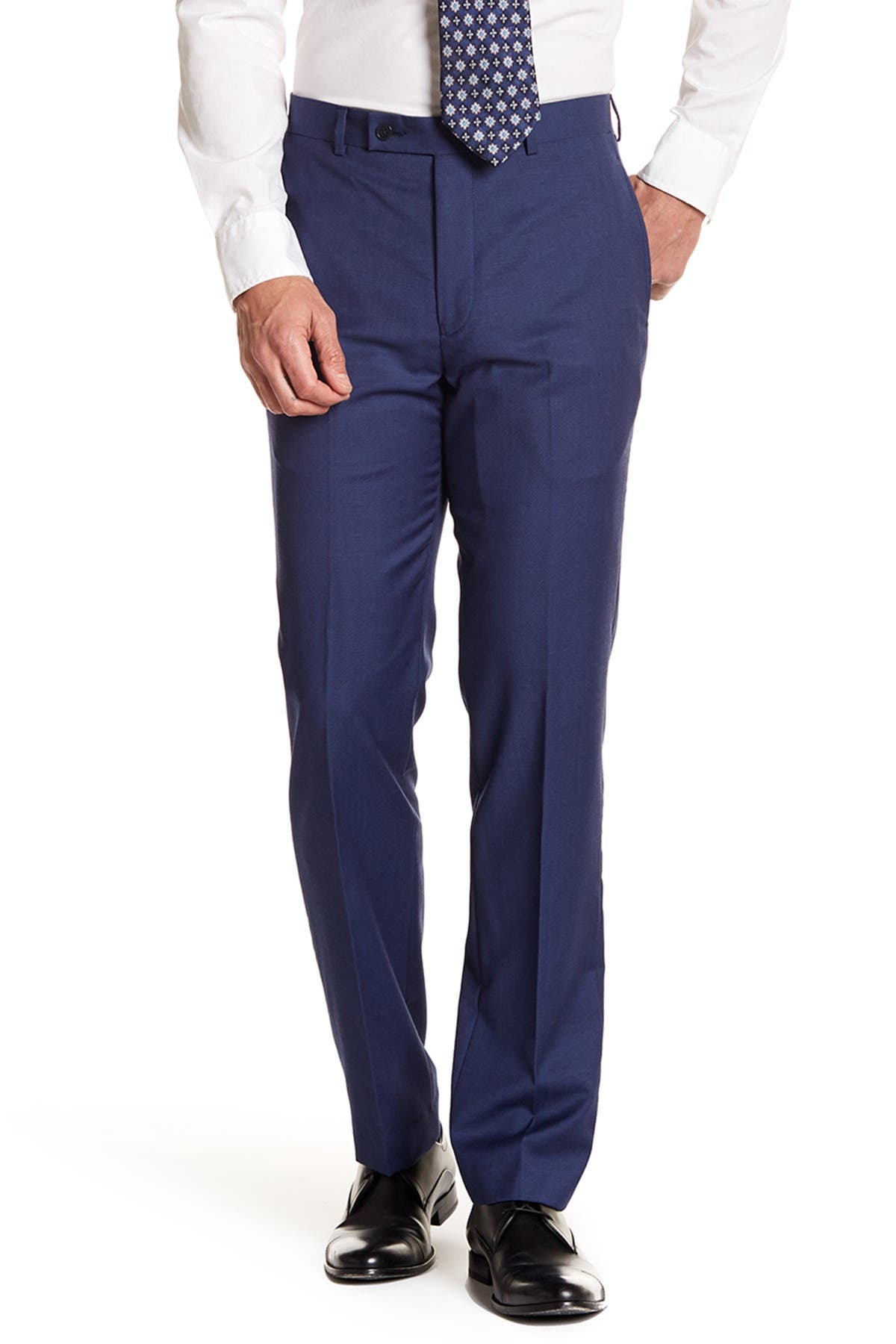"""Image of Calvin Klein Solid Bright Blue Wool Suit Separates Pants - 30-34"""" Inseam"""