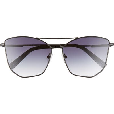 Le Specs Primeval 61mm Special Fit Gradient Aviator Sunglasses - Black/ Smoke