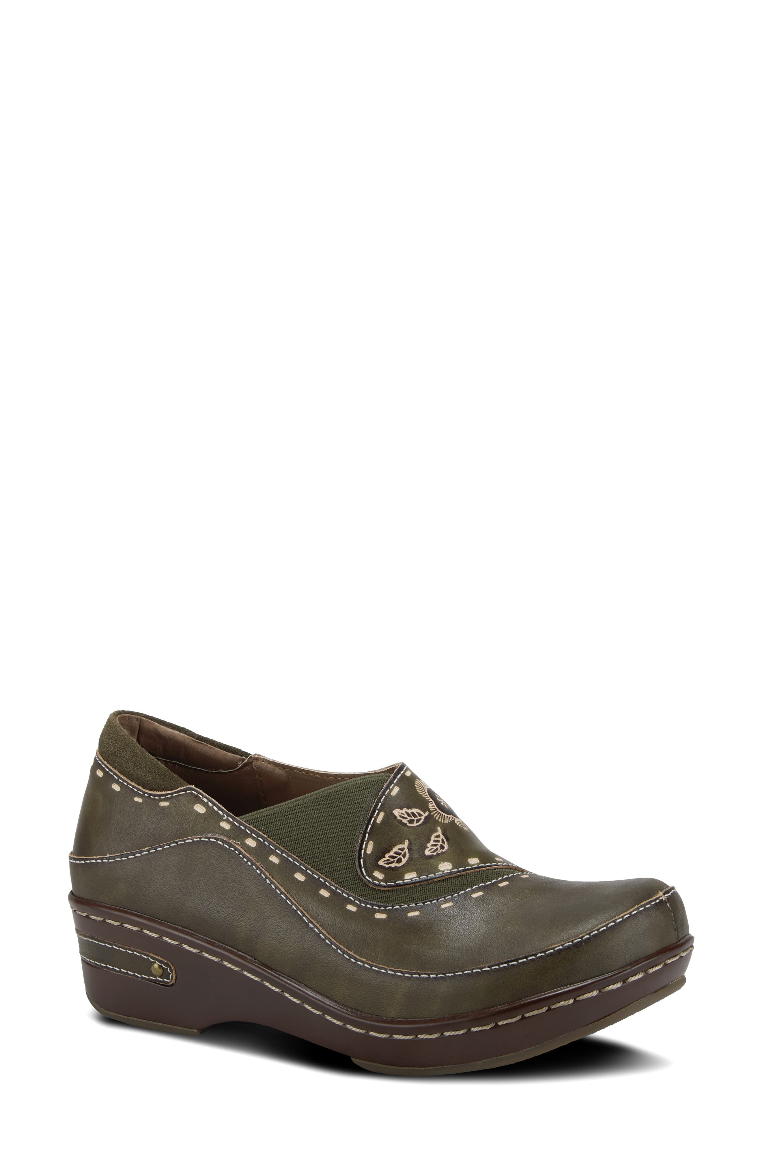 Hand-painted and hand-tooled leather distinguishes this comfy clog made with contoured elastic goring and high-density memory foam cushioning. Style Name:L\\\'Artiste Burbank Clog (Women). Style Number: 6117446. Available in stores.