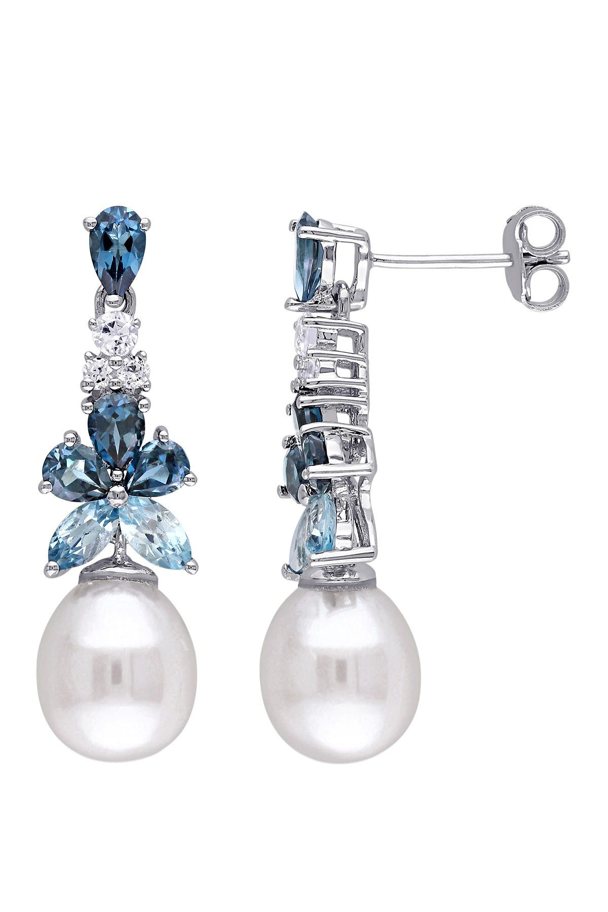 Image of Delmar Sterling Silver, Blue, White Topaz Sky & 8.5-9mm Freshwater Pearl Earrings