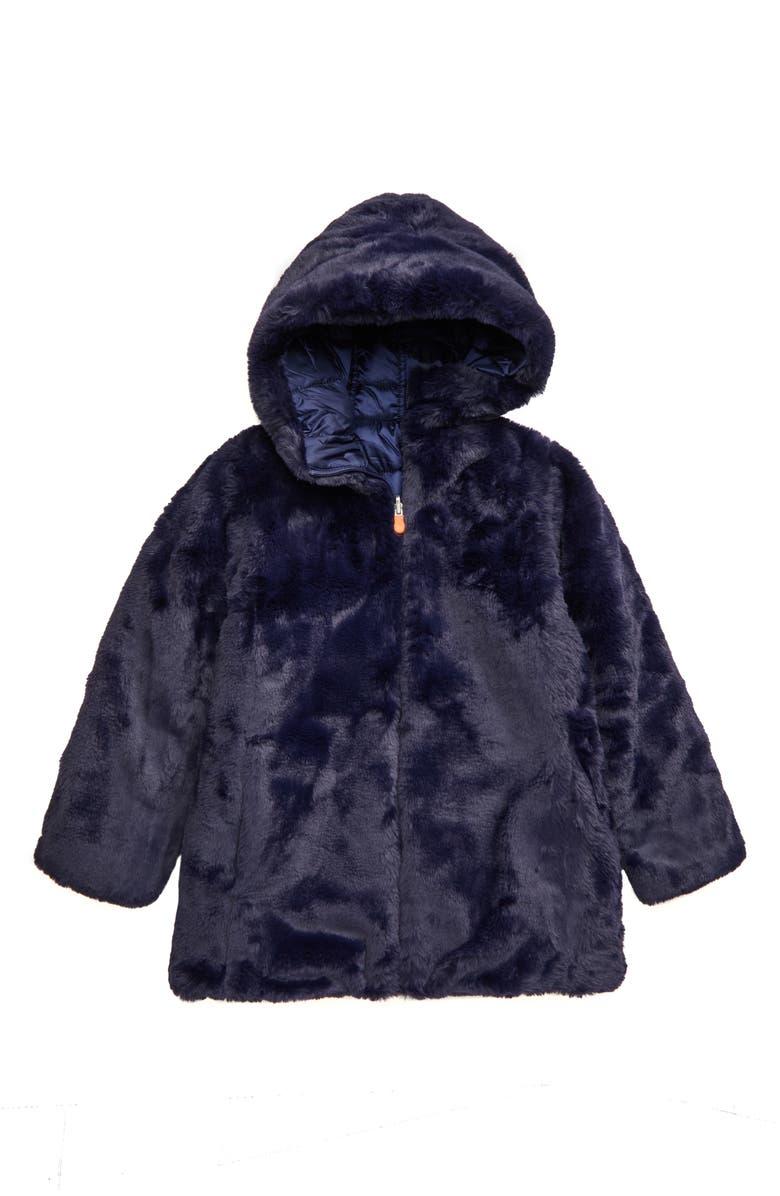SAVE THE DUCK Faux Fur Reversible Jacket, Main, color, EVENING BLUE/ 1504