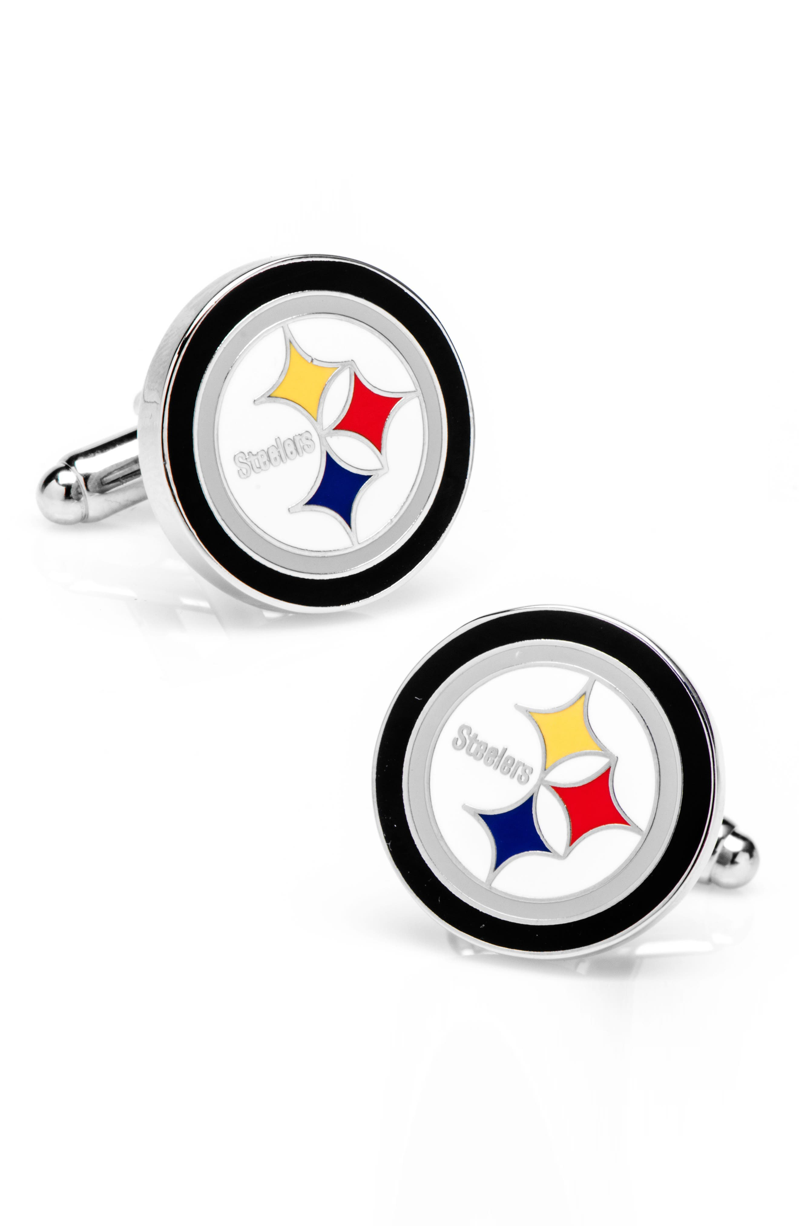Wear your heart on your sleeve with classic team cuff links with tasteful appeal. Style Name: Cufflinks, Inc. Pittsburgh Steelers Cuff Links. Style Number: 5353932. Available in stores.