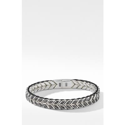 David Yurman Chevron Woven Bracelet With Black Diamonds